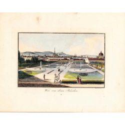 Gravure TRANQUILLO MOLLO Kupferstich, 1815, Vienne Wien vom oberen Belvedere, joliement coloriée
