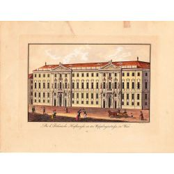 Gravure TRANQUILLO MOLLO Kupferstich, 1815, Bomische hofkanzlei in der wipplingerstrasse in Wien, Vienne, joliement coloriée