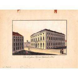 Gravure TRANQUILLO MOLLO Kupferstich, 1815,Vienne Wien K.K. geheime hof, Staatskanzlei, joliement coloriée